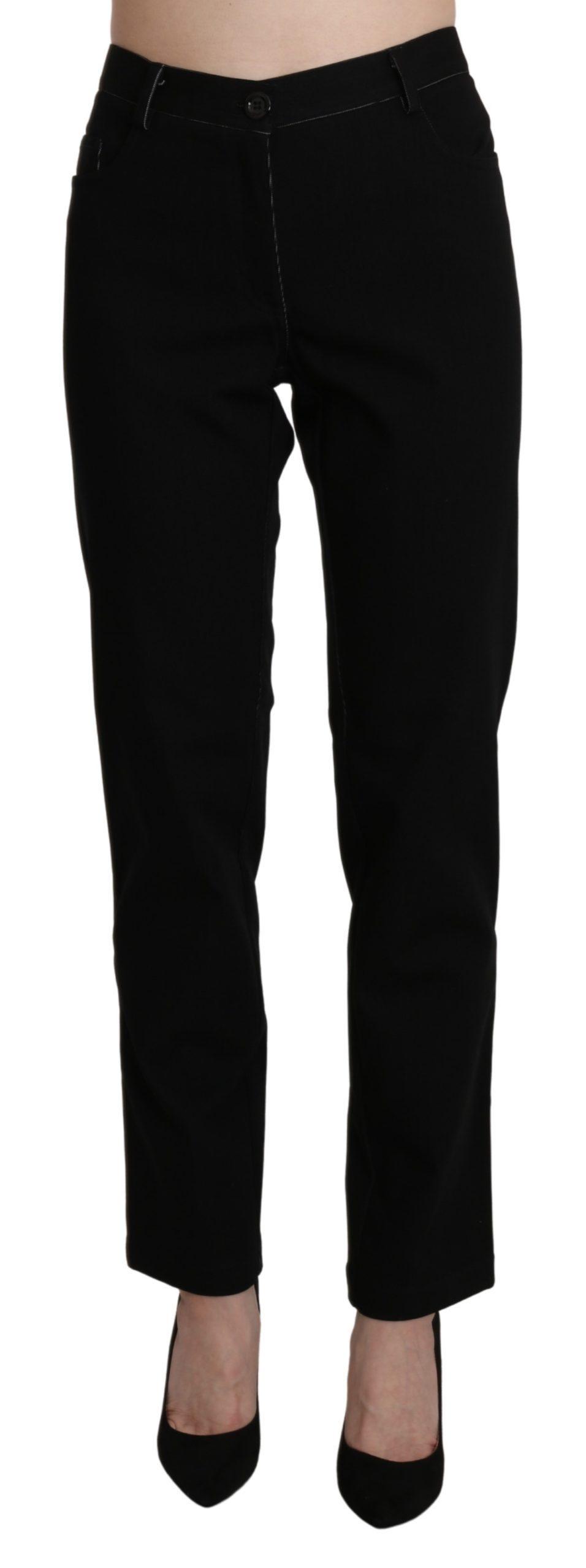 BENCIVENGA Women's High Waist Straight Trouser Black PAN71370-46 - IT48 XXL