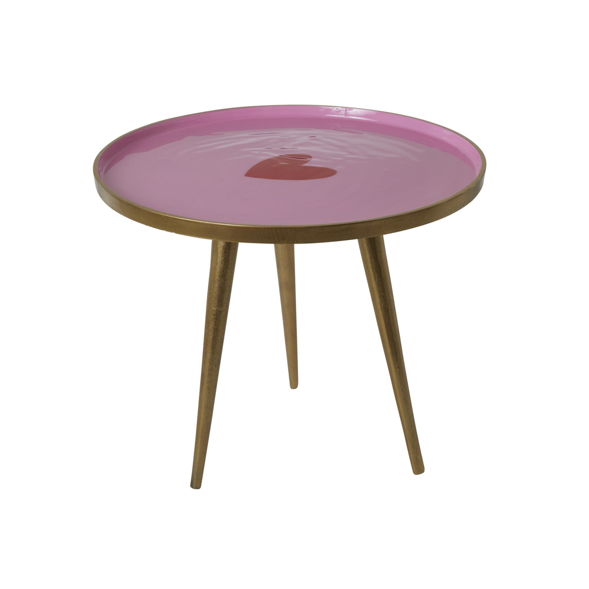 Rice - Round Metal Side Table Small - Pink with Heart