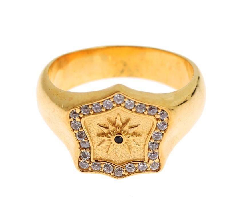 Nialaya Men's Gold Plated 925 Sterling Silver Ring Gold SIG19137 - EU66   US12