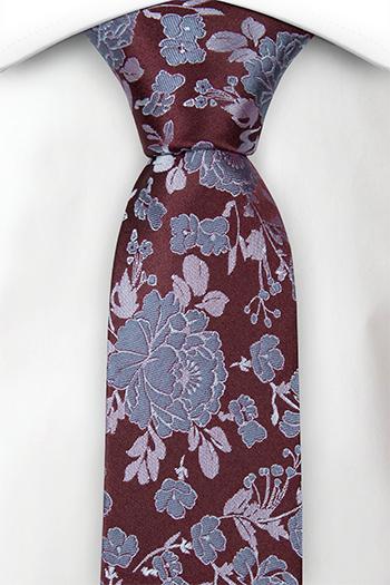Silke Smale Slips, Mørkest burgunderrød og lyseblå roser og blader, Notch SJURRI