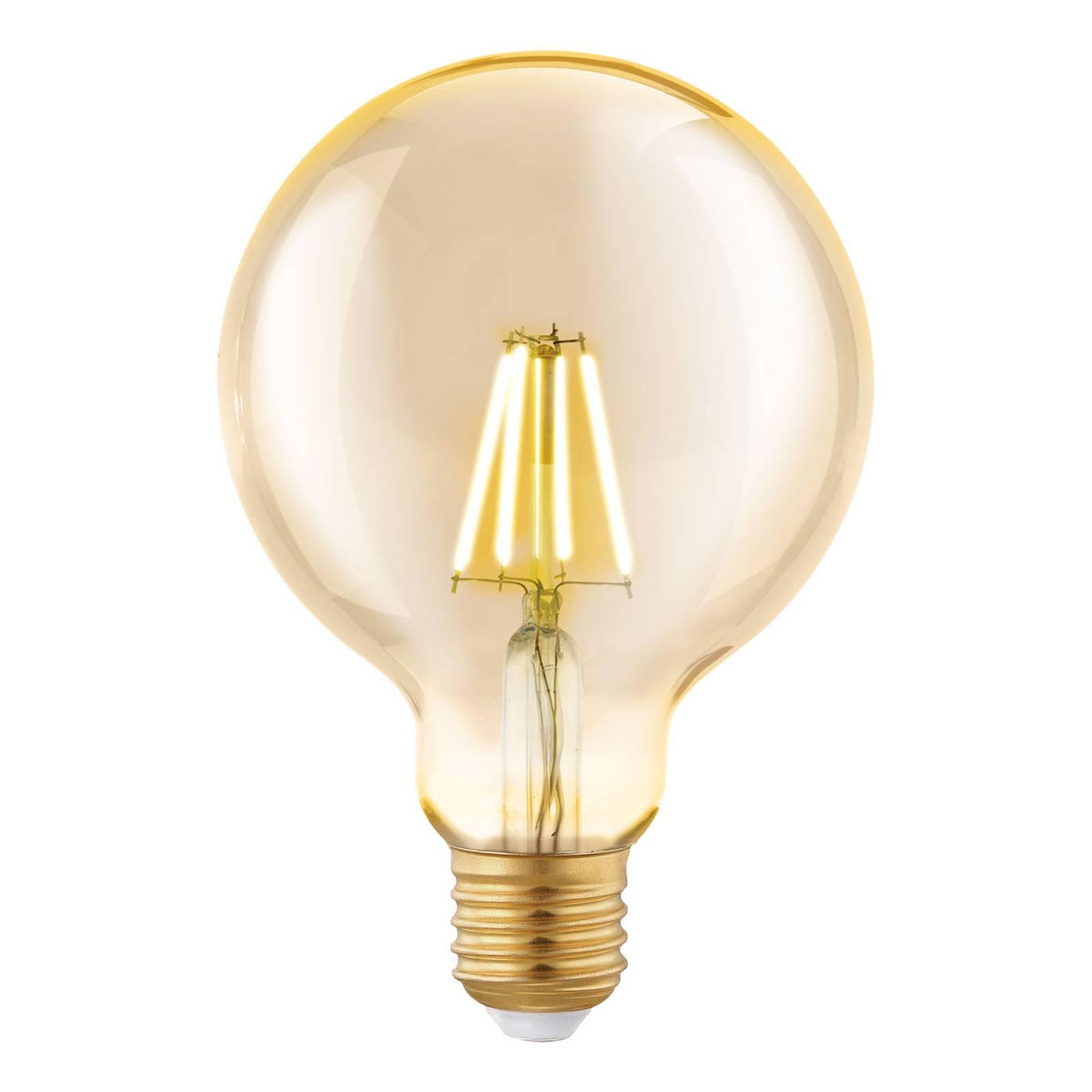 LED-globepære E27 G95 4 W filament, amber