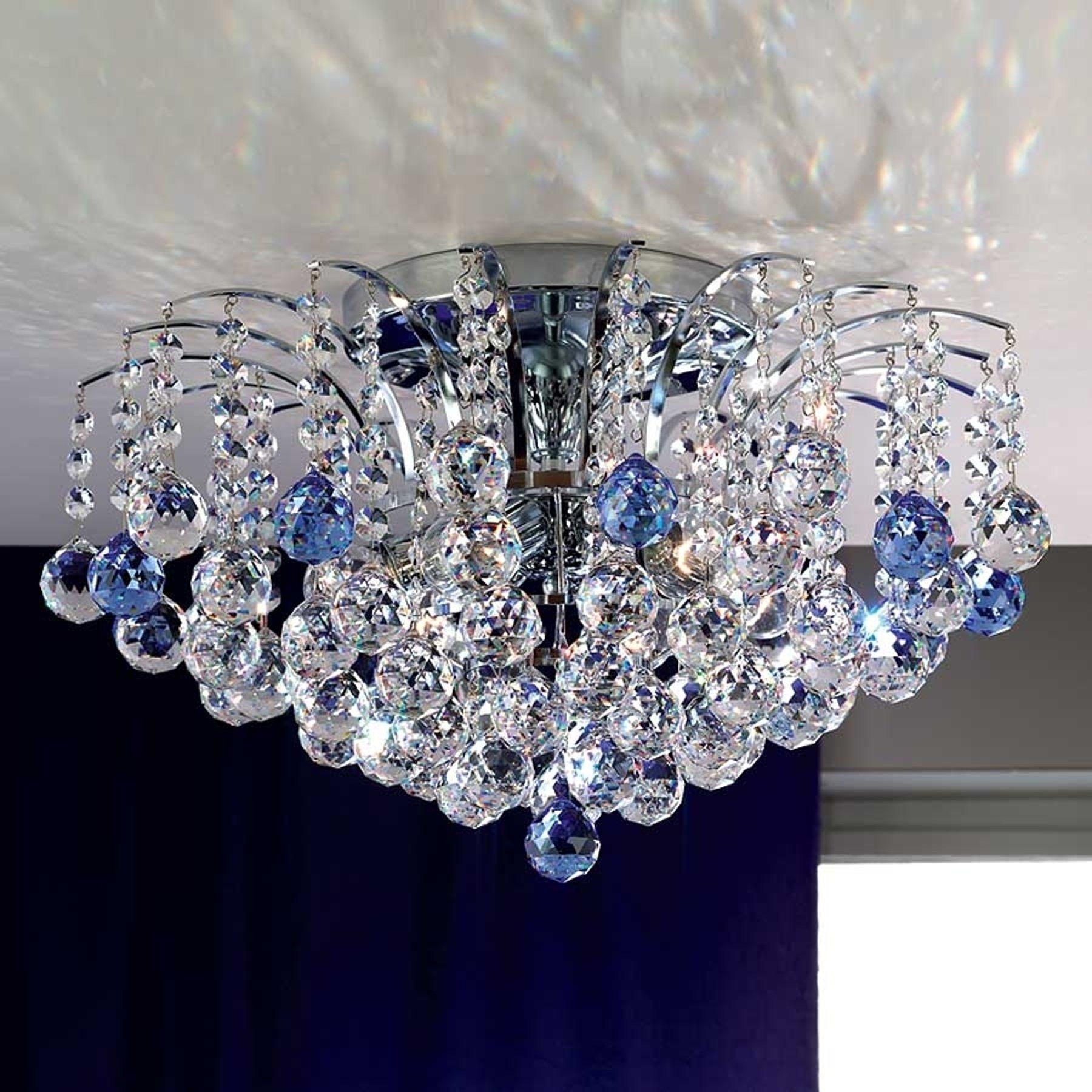 LENNARDA krystalltaklampe i blått og krom