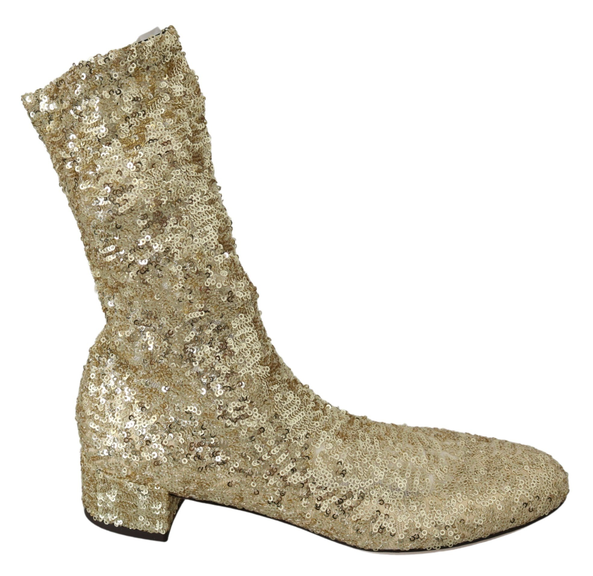 Gold Sequined Stretch Ankle High Boots - EU39.5/US9