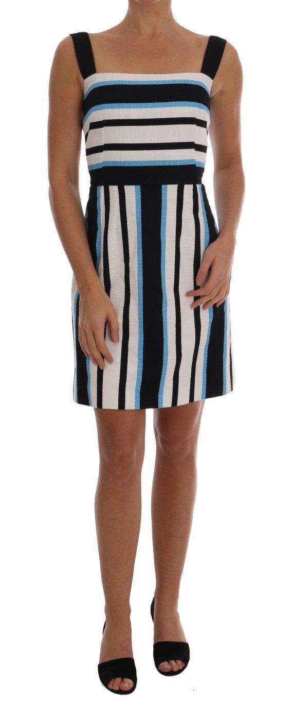 Dolce & Gabbana Women's Striped Cotton A-Line Dress White Multicolor DR1284 - IT36 XXS