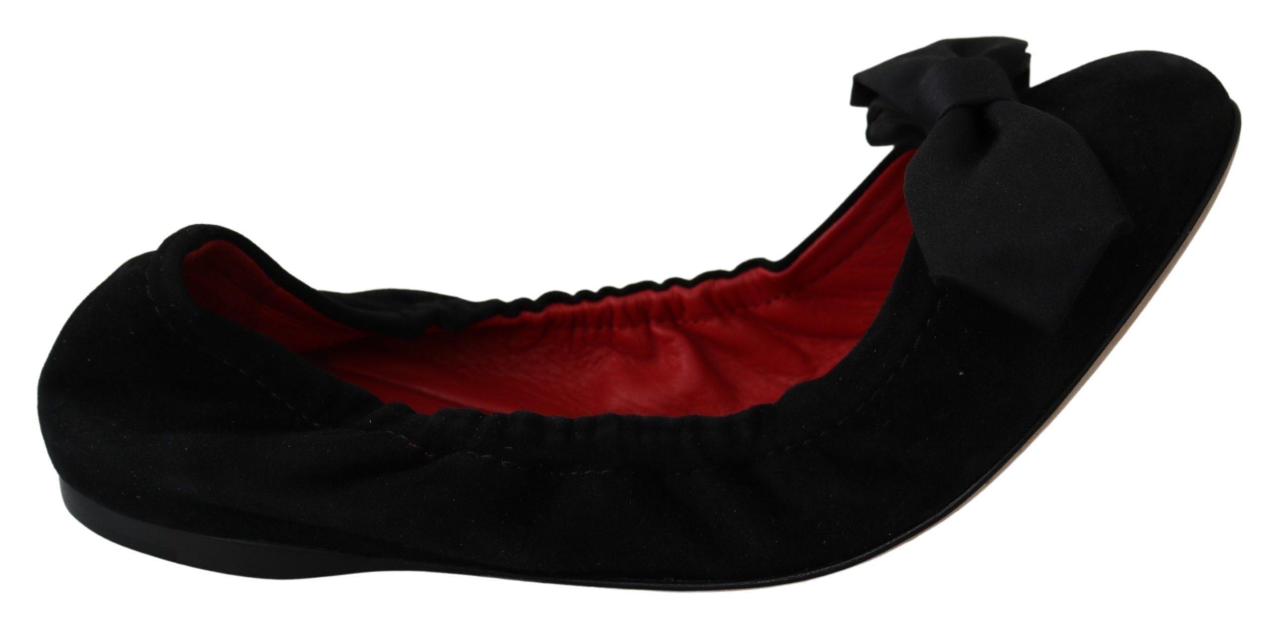 Black Suede Red Ballerina Flats Shoes - EU39/US8.5