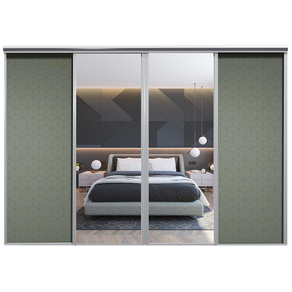 Mix Skyvedør Cube Mosegrønn Sølvspeil 3100 mm 4 dører