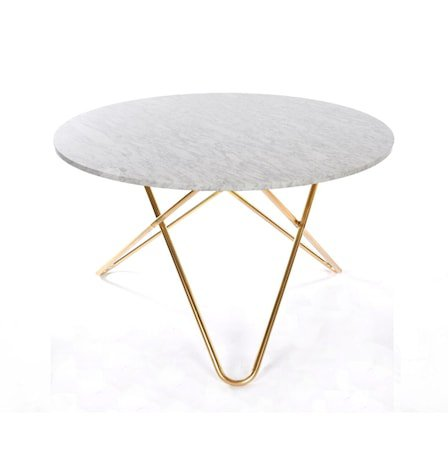 Big O table spisebord - Carrara/brass