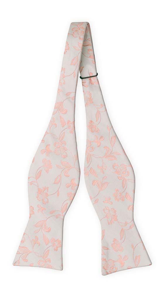 Silke Sløyfer Uknyttede, Stiliserte rødmerosa blomster på sølvgrått
