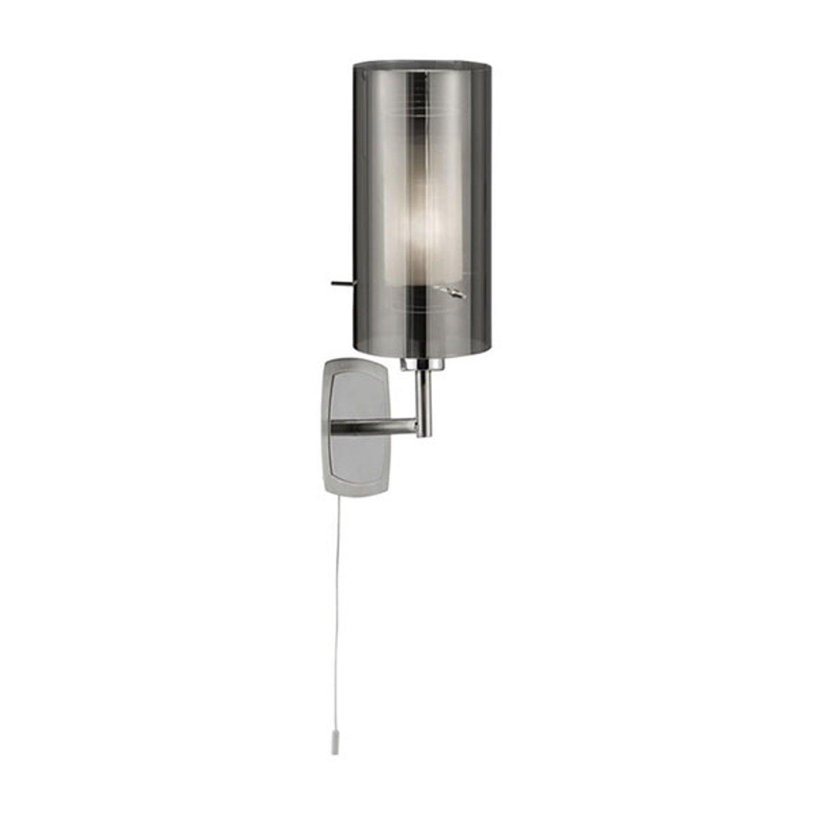 Vegglampe Duo 2, røykglass/krom med bryter