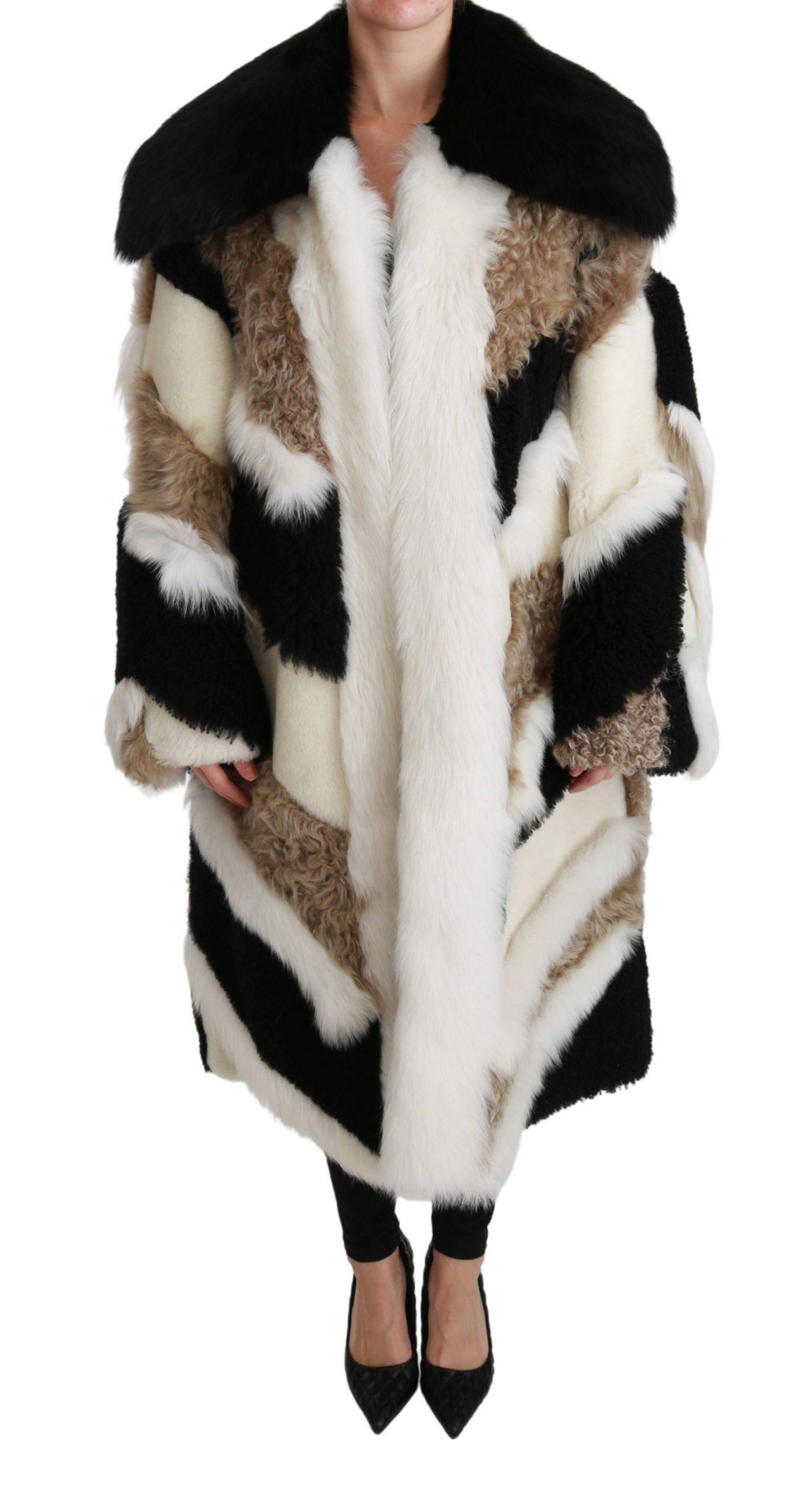 Dolce & Gabbana Women's Sheep Fur Shearling Cape Jacket Coat Multicolor JKT2569 - IT38 | S