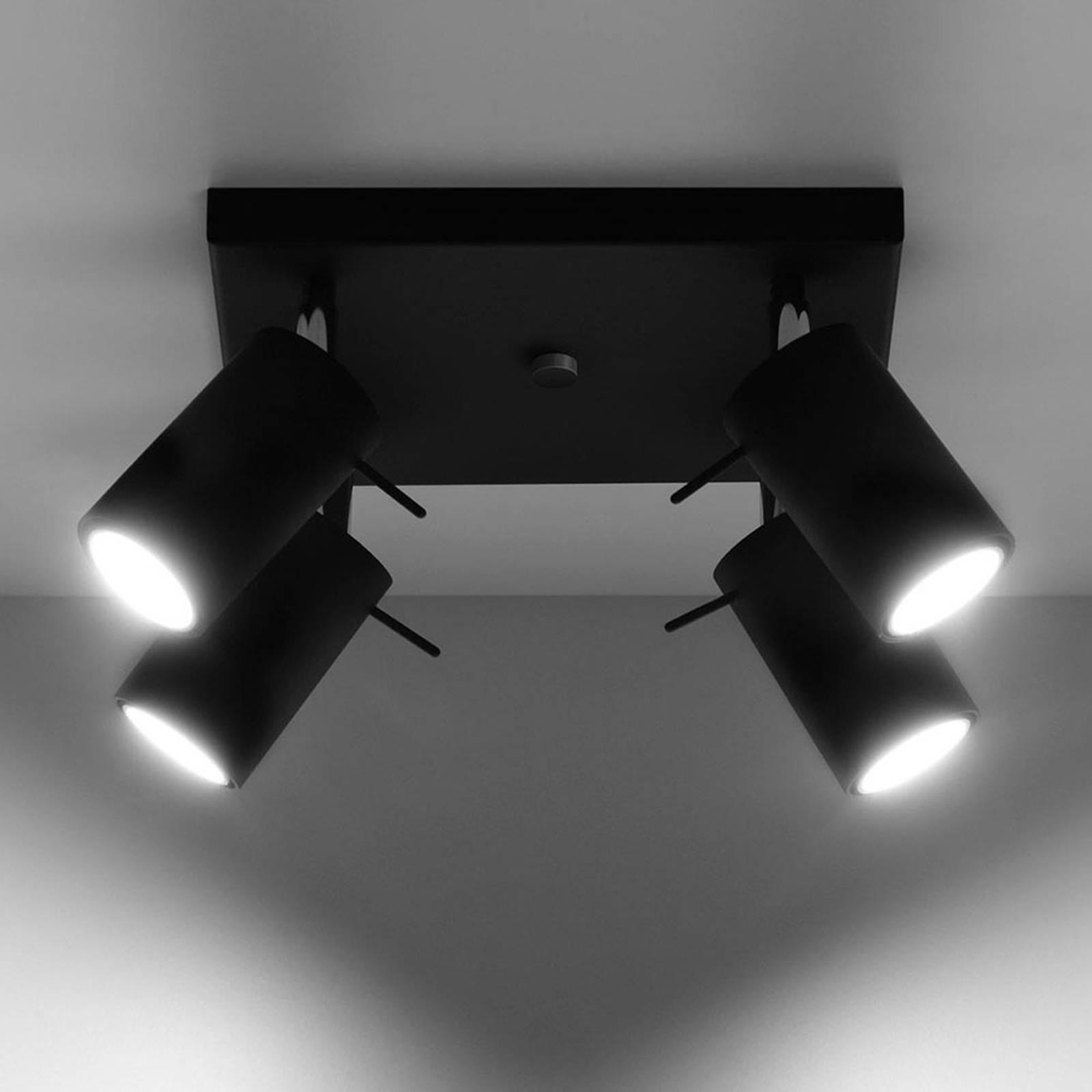 Kattokohdevalo Round, musta, 4-lamppuinen
