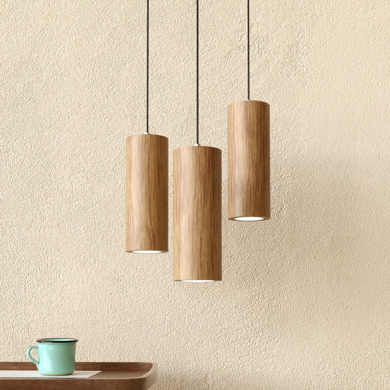 Kolmilamppuinen LED-riippuvalaisin Pipe tammea