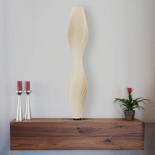 LED-gulvlampe Flechtwerk Lava, 75 cm, beige