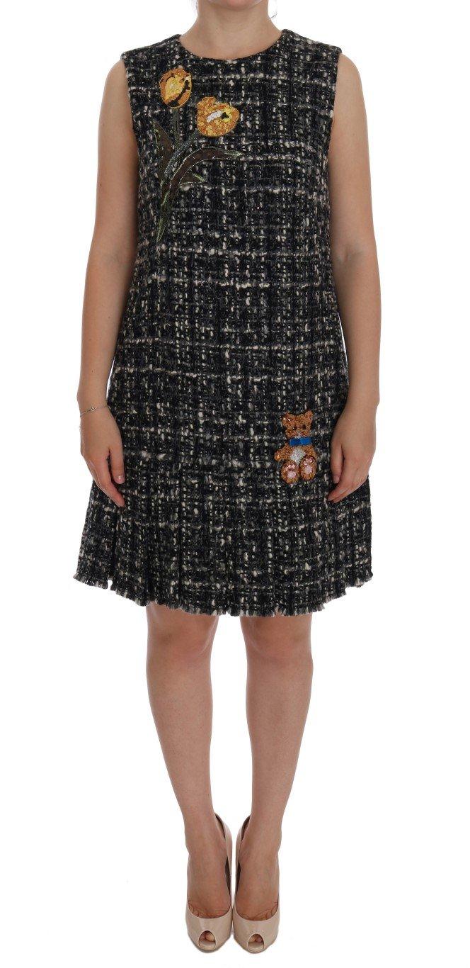 Dolce & Gabbana Women's Wool Crystal Teddy Bear Dress Gray DR1023 - IT44|L