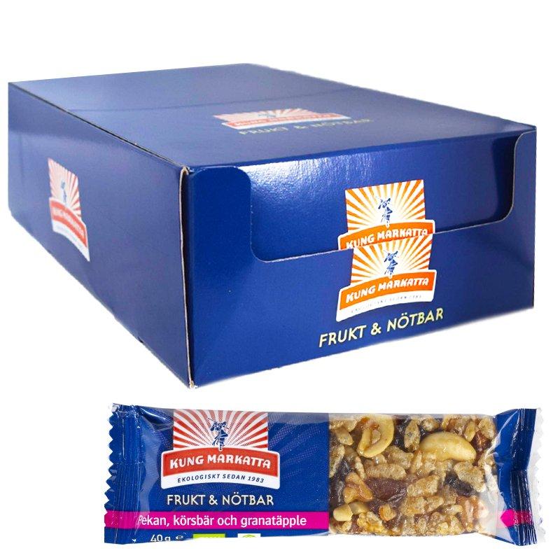 Laatikko: Hedelmä- ja Pähkinäpatukat, Granaattiomena & Pekaanipähkinä 20 x 40g - 69% alennus