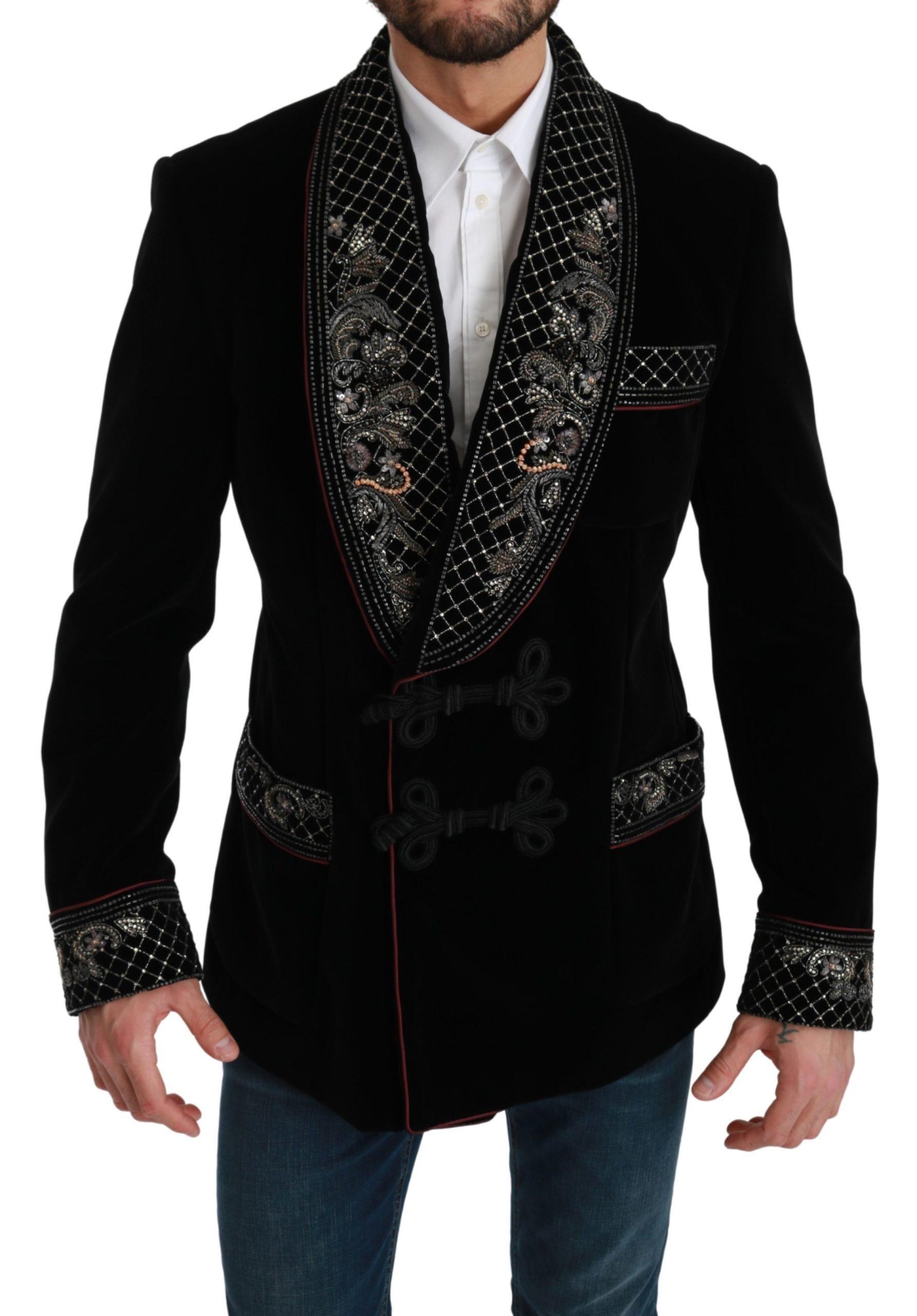 Dolce & Gabbana Men's Beaded Velvet Crystal Blazer Black KOS1763 - IT52 | L