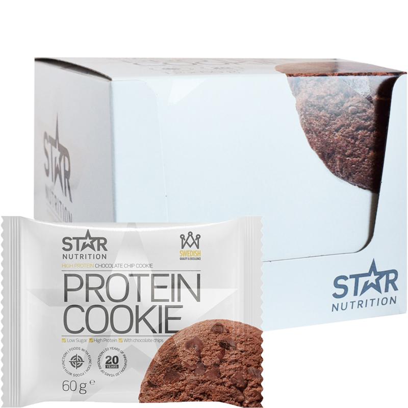 "Hel låda Proteinkakor ""Chocolate Chip Cookie"" 12 x 60g - 38% rabatt"