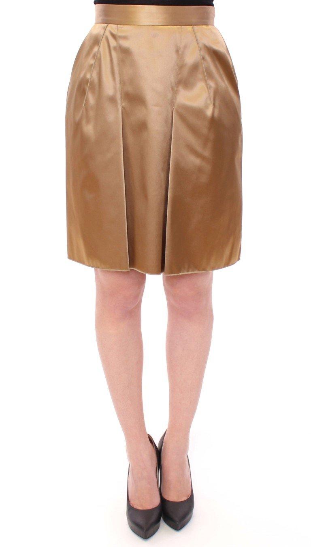 Dolce & Gabbana Women's Stretch Above Knee Zipper Skirt Gold GSS11689 - IT42|M