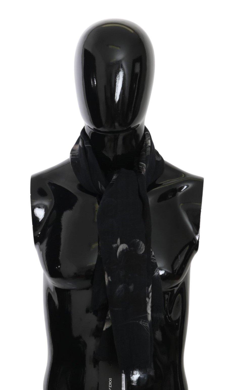 Dolce & Gabbana Men's Floral Fringe Wrap Cashmere Scarf Black MS5503