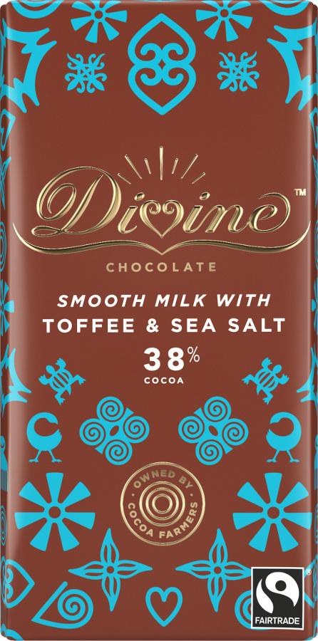 Divine Chocolate Milk Chocolate Toffee & Sea Salt 90g