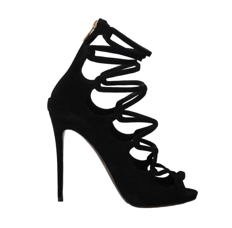 Dolce & Gabbana Suede Ankle Heels Black LA5080-1 - EU36/US5.5