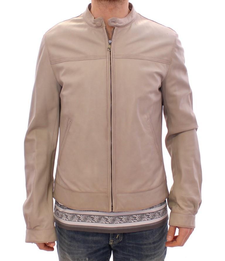 Dolce & Gabbana Men's Leather Biker Jacket Beige GSD12709 - IT50   L