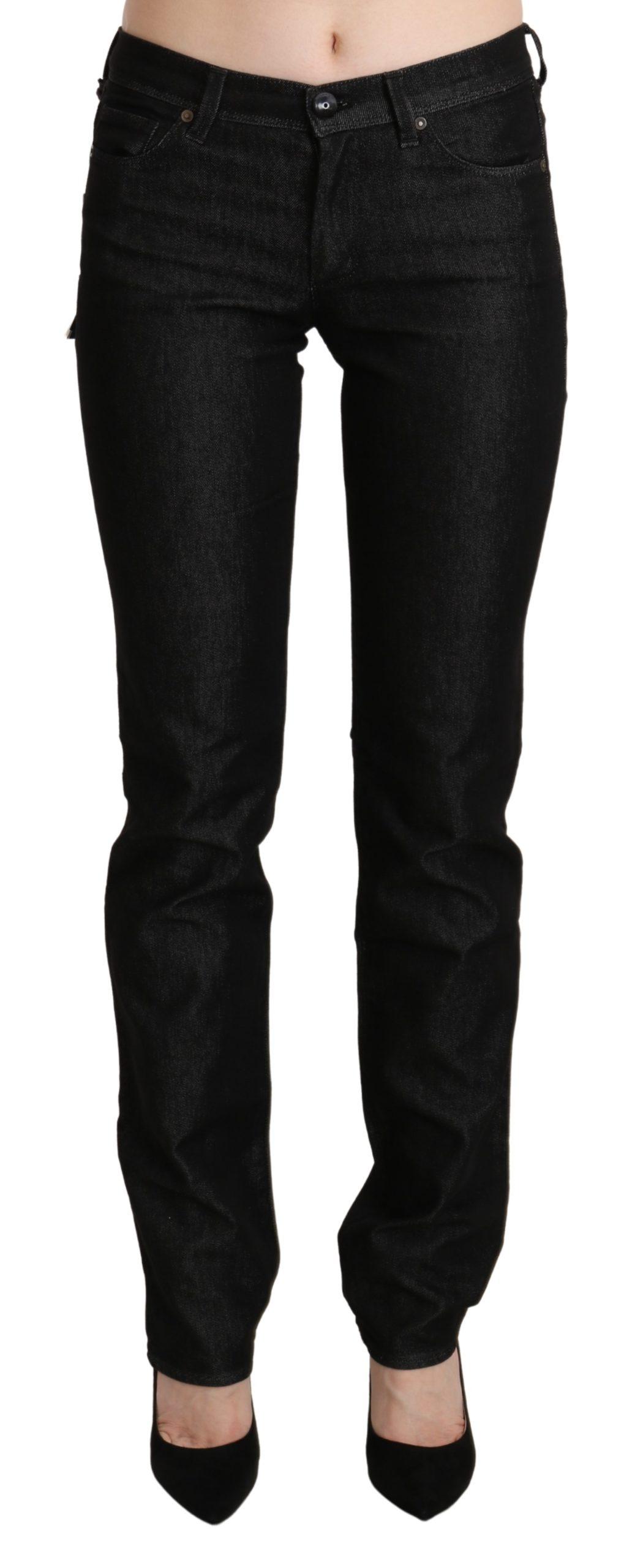 Black Mid Waist Skinny Slim Denim Trouser - W28