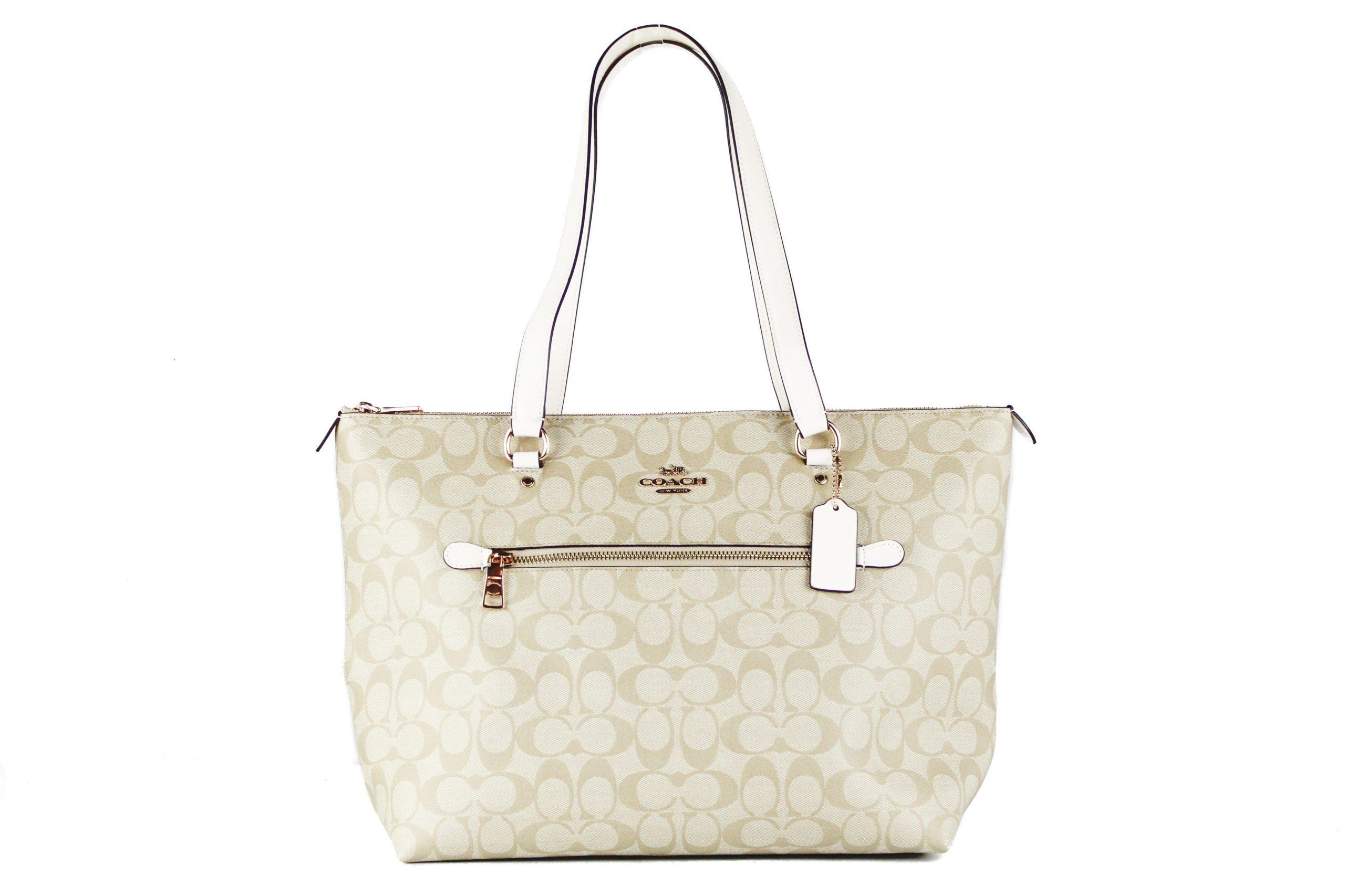 COACH Women's Canvas Leather Tote Bag Khaki 504339