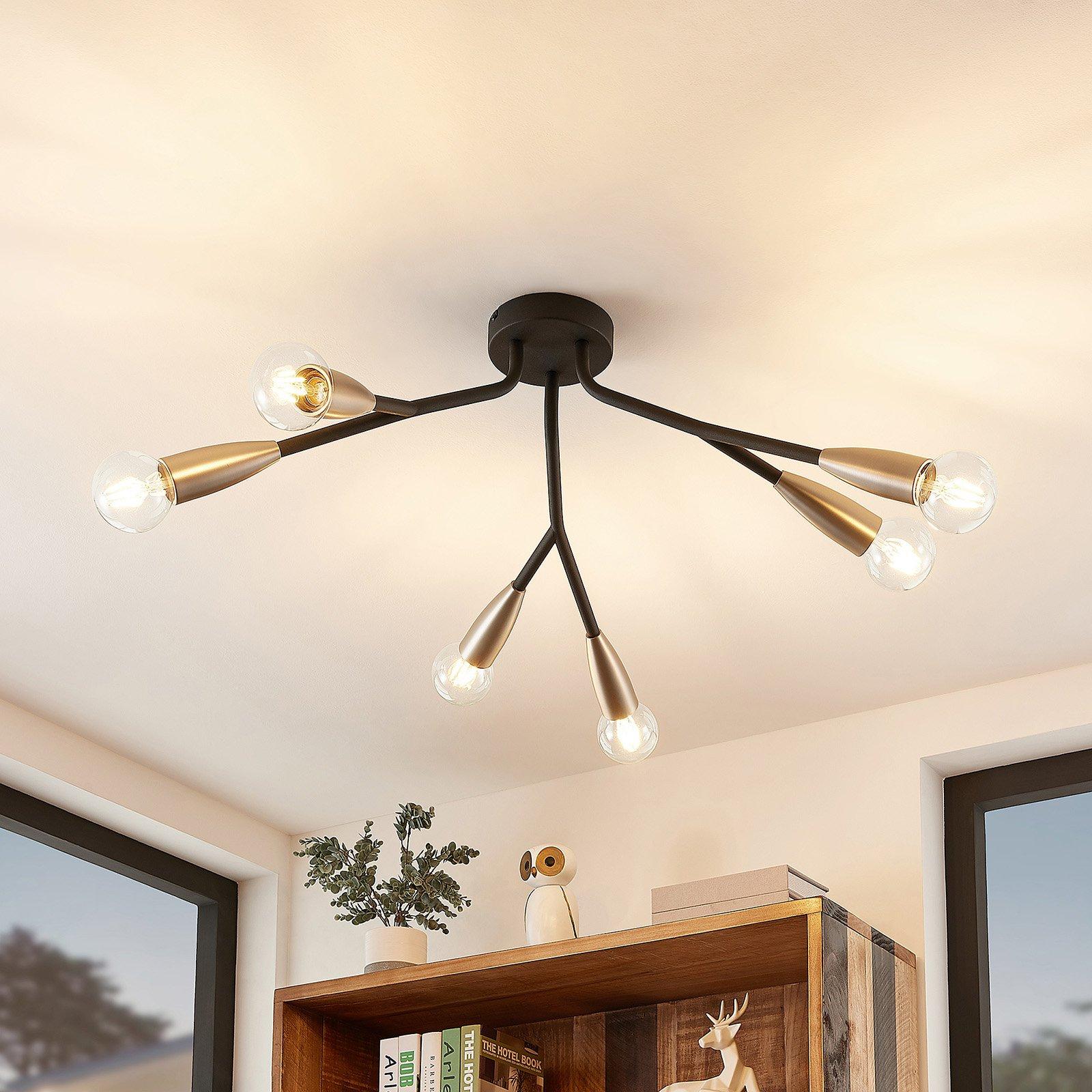 Lucande Carlea taklampe, 6 lyskilder, svart nikkel
