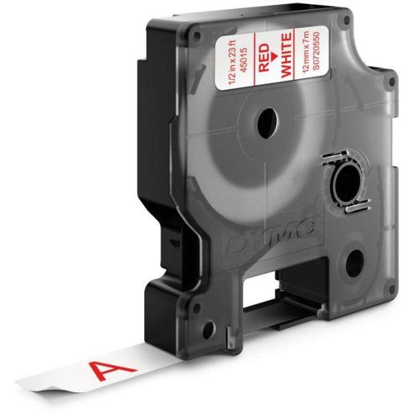 DYMO Standard D1 Teip 12mm Rødt på hvitt