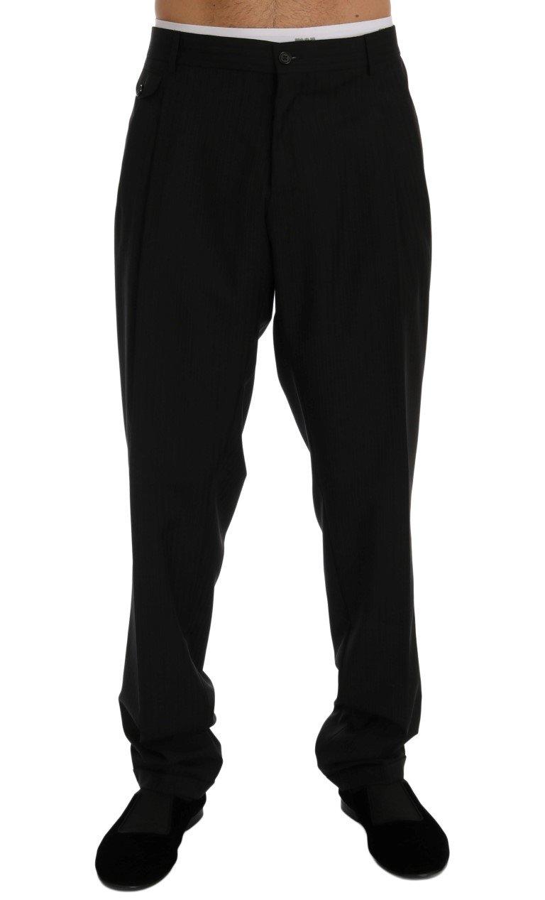 Dolce & Gabbana Men's Striped Wool Stretch Trouser Black PAN60378 - IT54 | XXL