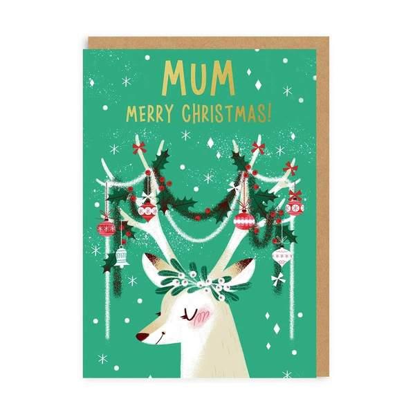 Mum Festive Antlers Christmas Card