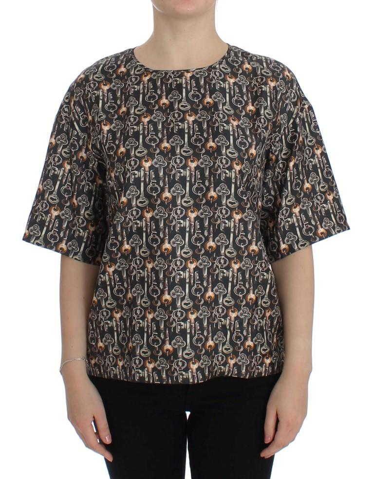 Dolce & Gabbana Women's Gold Key Print Top Gray SIG13324 - IT48|XXL