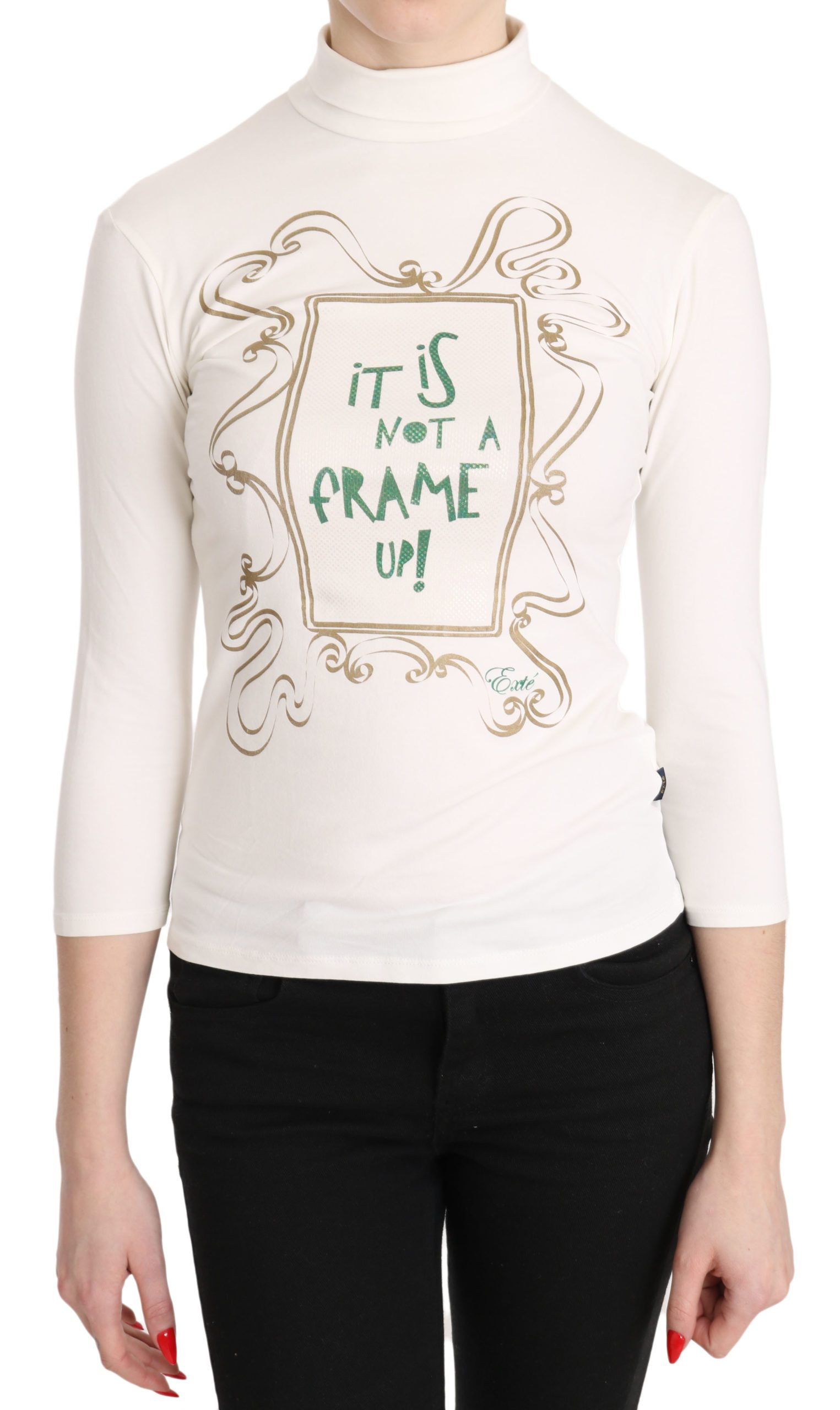 Exte Women's Printed Turtle Neck 3/4 Sleeve Casual Top White TSH3411 - IT42|M