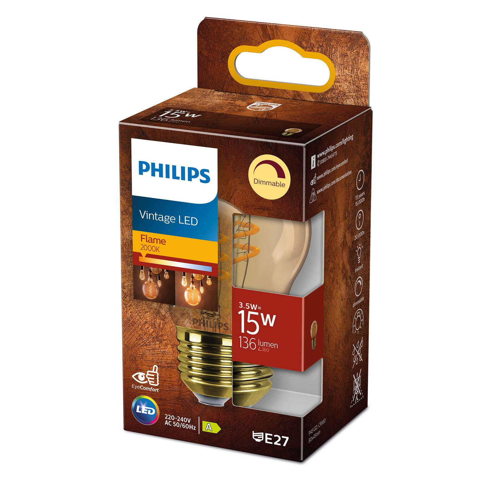 Philips LED Classic E27 P45 3,5W 1 800 K gold dim