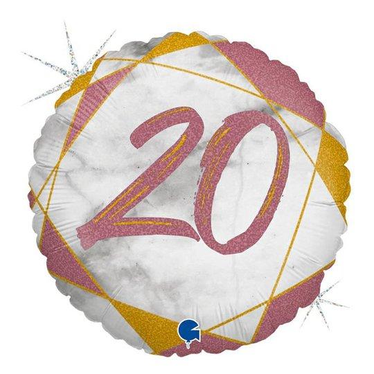 Folieballong Marble Mate 20 Roséguld - 1-pack