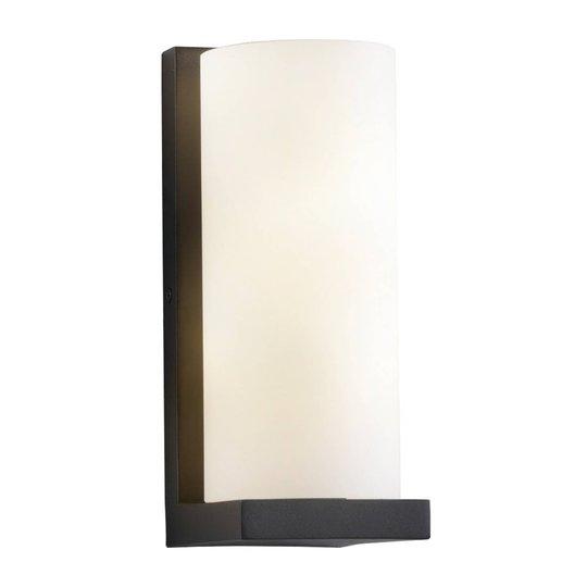 Lucande Lyra vegglampe, svart/hvitt, glasskjerm