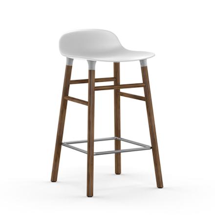 Form Barstol Hvit/Valnøtt 65 cm