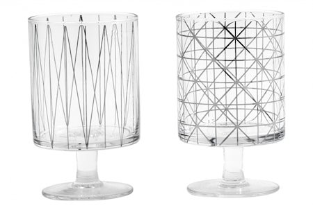 IBI Glass med sølvmønster og fot