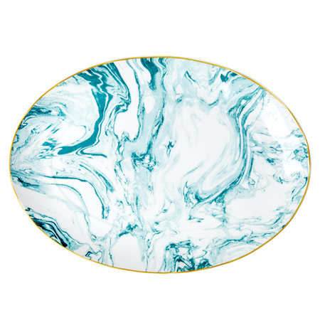 Marble print Serveringsfat 35x25 cm Porselen Grønn