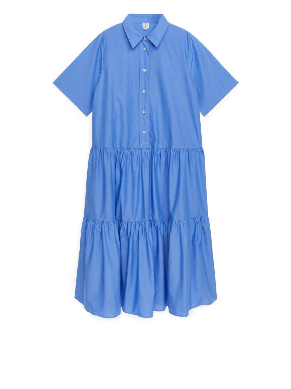 Cotton Lyocell Tier Dress - Blue
