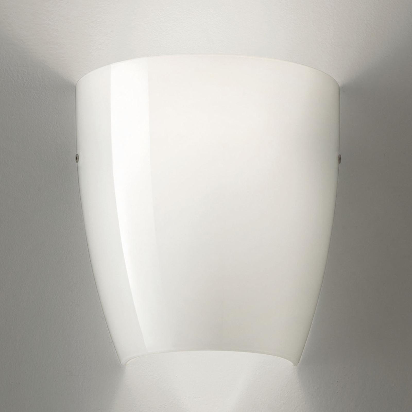 Seinälamppu Dafne lasista, kiiltävä valkoinen