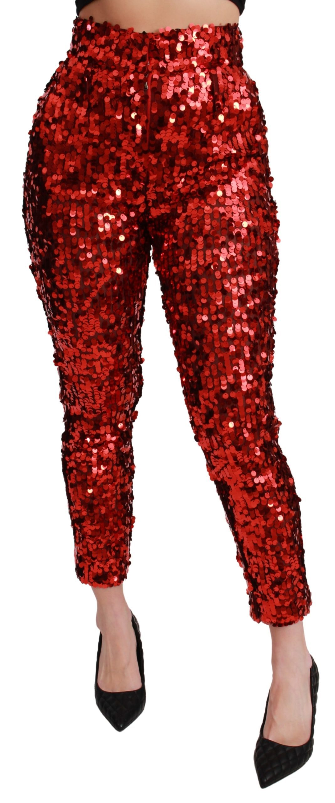 Dolce & Gabbana Women's Sequined Cropped Trouser Red PAN71052 - IT38|XS