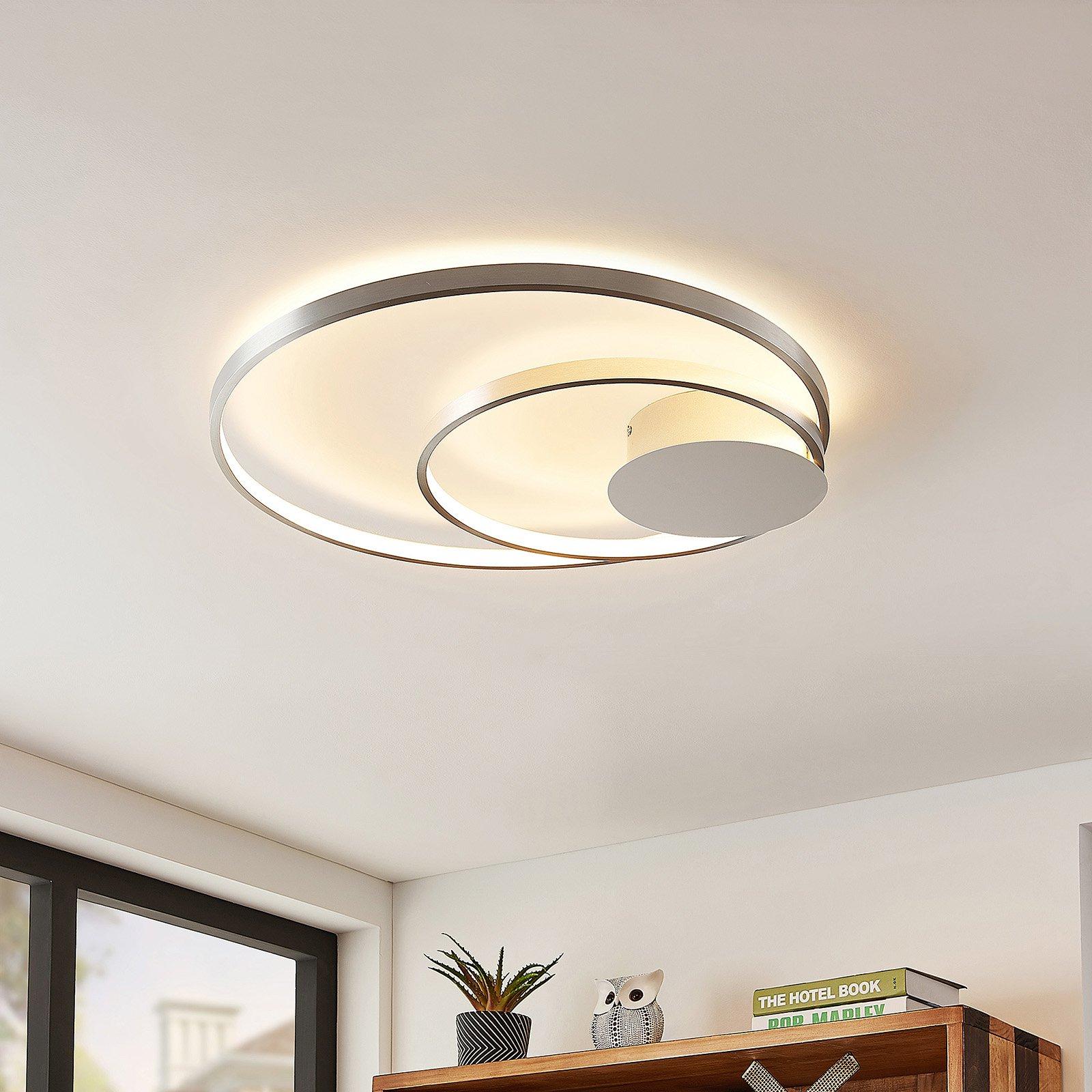 Lindby Nerwin LED-taklampe, rund, alu/krom