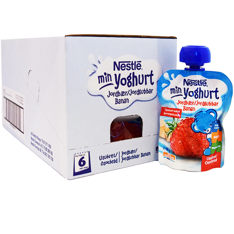 Hel Låda Yoghurt Banan & Jordgubb 16 x 90g - 67% rabatt