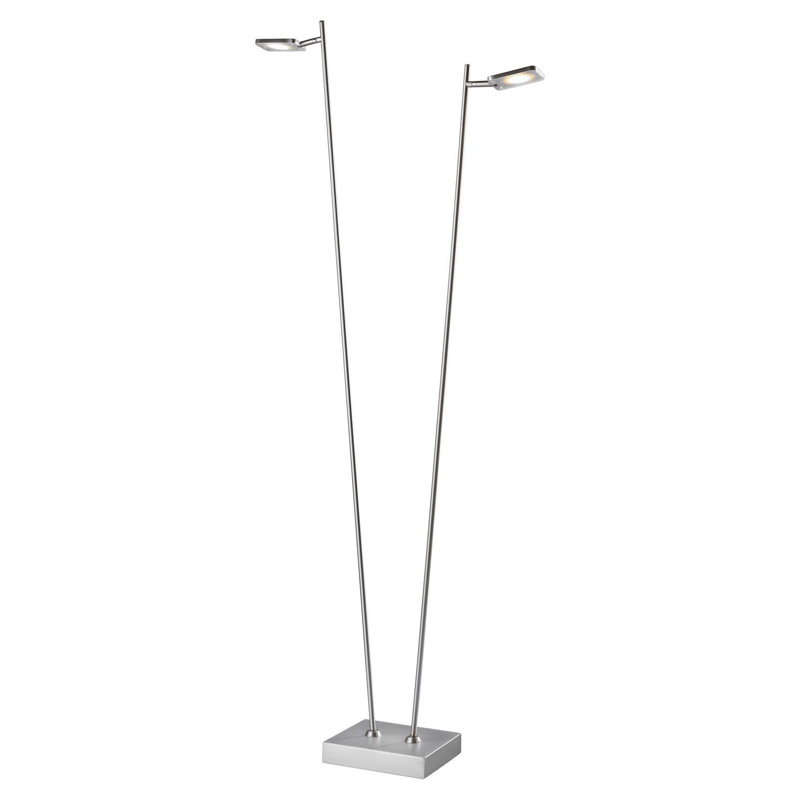 LED-gulvlampe Quad, dimmer, 2 lyskilde, aluminium