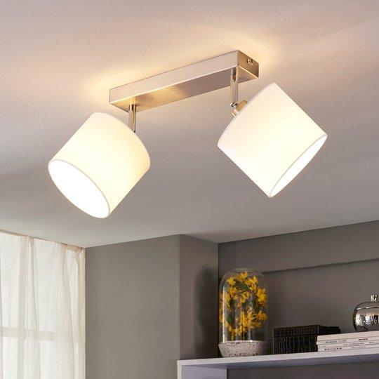 2-lamppuinen LED-kattovalaisin kangasvarjostimella