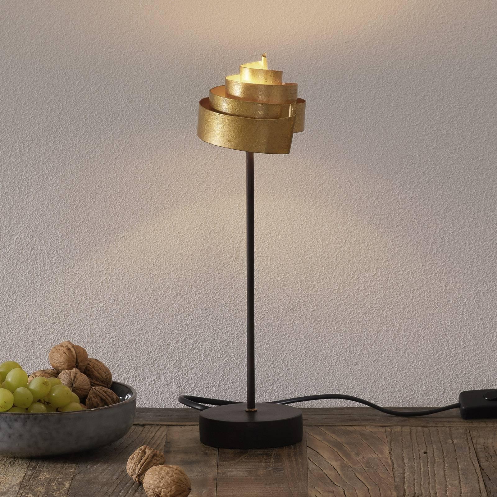 Formfullendt bordlampe BANDEROLE GOLD av jern