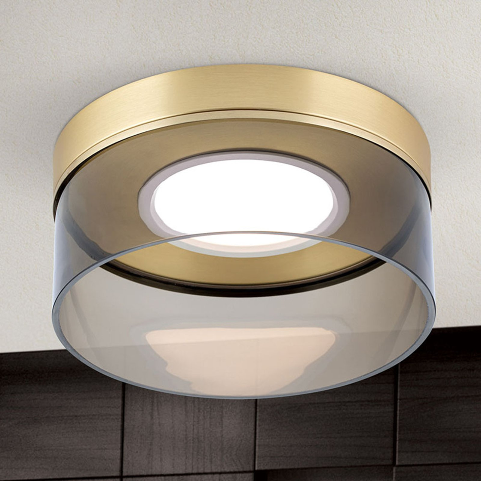 LED-taklampe Francis messing matt Ø 30 cm
