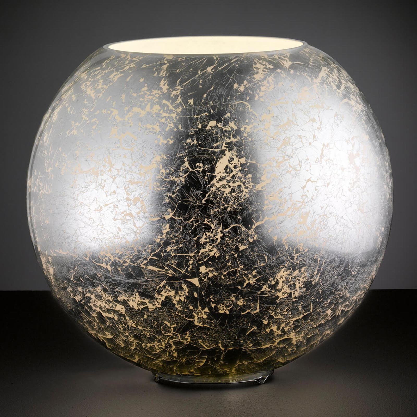 Hopeanvärinen lasipöytälamppu Fara pallonmuotoinen